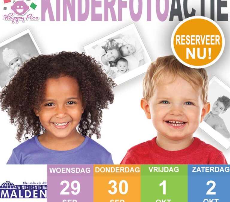 Kinderfotoactie in winkelcentrum Malden